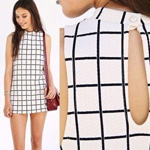 UO Black on White Grid Mock Neck Mini Dress
